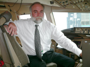 Ken Holder, President and Founder of AERONUVO, The Aircraft Appraisal and Vaulation Company, photograph take at London Heathrow aboard a Boeing 767 aircraft.